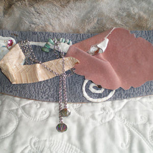 Artist LynKA OOAK Vtg Belt Pink Grey Steampunk